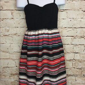 Roxy Girl Dress Tank Top Striped Black Beach Large